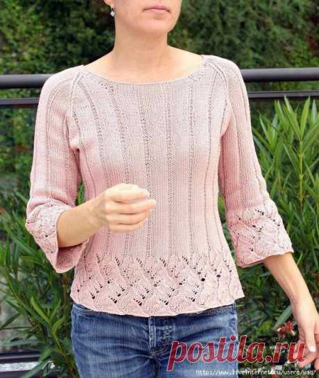 Розовый джемпер с ажуром Chinese Lace Pullover