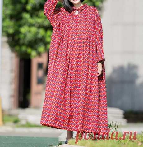 Cotton Dresses, Oversized Loose Fitting Dresses, Long Maxi Dress, pullover Dresses, Maternity dress women 【Fabric】 Cotton 【Color】 red, green 【Size】 Shoulder width is not limited Bust 130cm / 51 Shoulder + sleeve length 60cm / 23 Cuff circumference 29cm/ 11.3 Length 119cm / 46  Have any questions please contact me and I will be happy to help you.