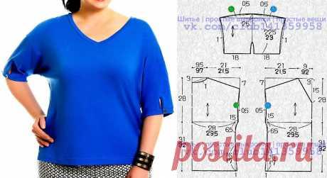 Блузка с V-образной горловиной и спущенной линией плеча. Выкройка на размеры 50 и 52/54 (рос.). #простыевыкройки #простыевещи #шитье #блузка #блуза #дляполных #выкройка