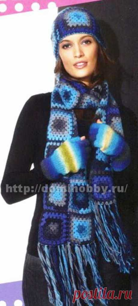 Шапка и шарф из бабушкиных квадратов