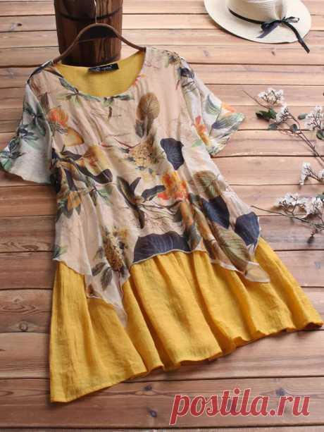 Vintage Floral Print Layers Short Sleeve Plus Size Blouse - US$19.99
