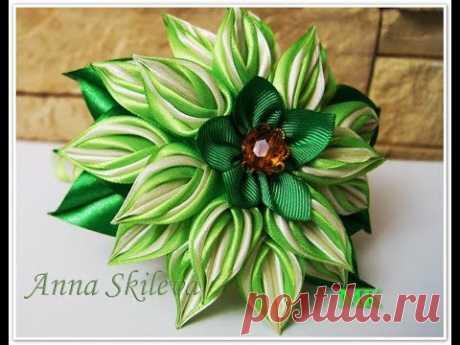 Цветок из тонкой ленты . Flower thin belt. DIY.