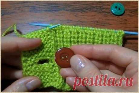 Показываю два способа, как вывязать отверстие на планке для пуговицы | Ольга knits спицами и крючком | Яндекс Дзен