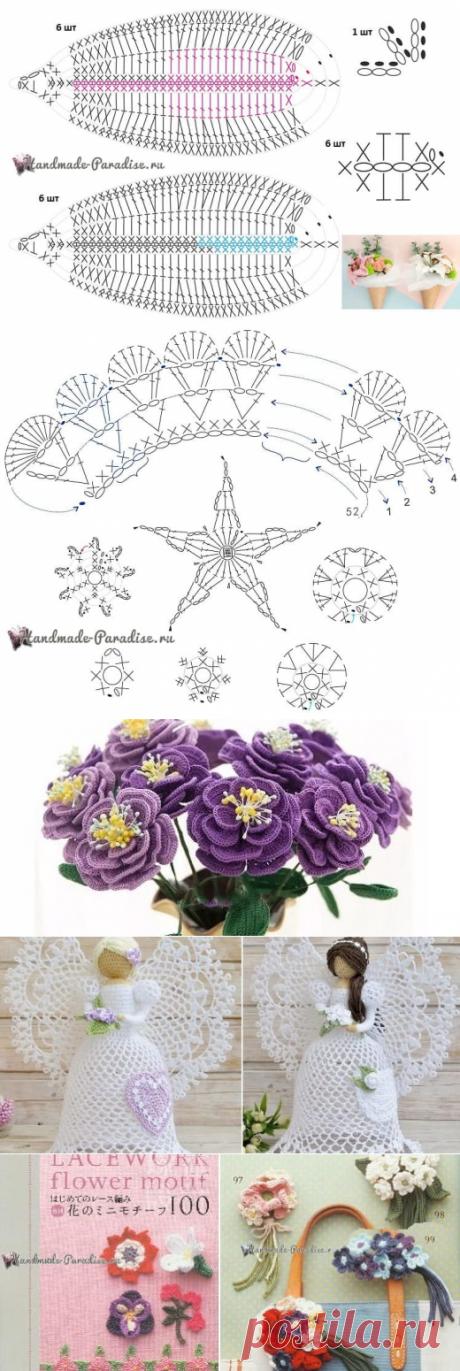 Букет вязаных крючком лилий с розами