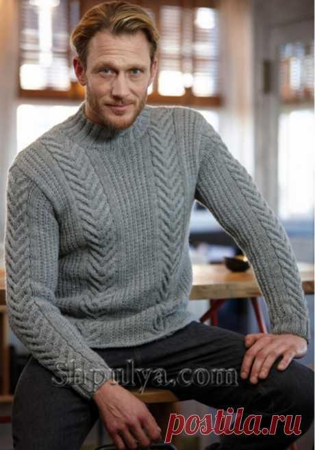 www.SHPULYA.com - Мужской свитер с косами