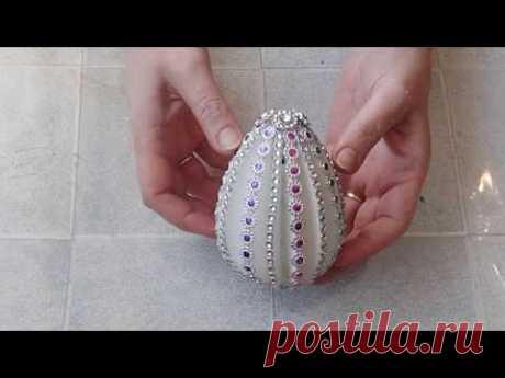Пасхальное яйцо из подложек и страз своими руками. DIY/рукоделие