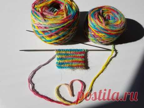 Образец вязания из окрашенной шерсти