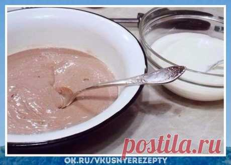 """Вкуснятина! Безумно вкусно! Творожная запеканка """"зебра"""" Все просто и очень вкусно, попробуйте!    Ингредиенты:  Творог полужuрный (500 г.)  Сахар (5 ст.ложк)  Курuное яйцо (2 шт.)  Манная крупа (4 ст.ложк)  Поваренная соль (2 г.)  Какао-порошок (1 ст.ложк)  Ванилин (2 г.)  Молоко (150 мл.)  Приготовление: 1. В"""