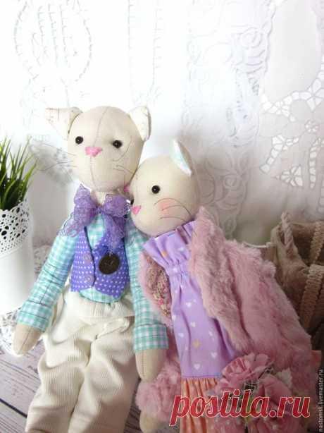 Купить Парочка Котиков в стиле Тильда - сиреневый, розовый, персиковый, свадебный подарок, свадьба