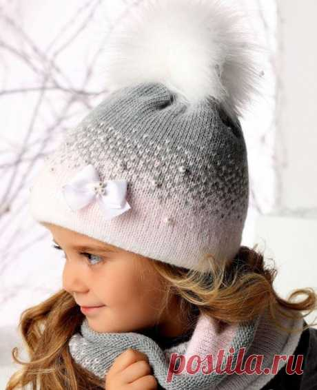 Двухцветная двойная детская шапка и снуд (Вязание спицами) – Журнал Вдохновение Рукодельницы