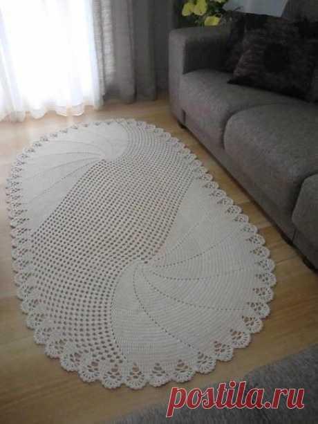 Необычный овальный ковёр на пол. Крючком. Схема. / Вязаные идеи, идеи для вязания