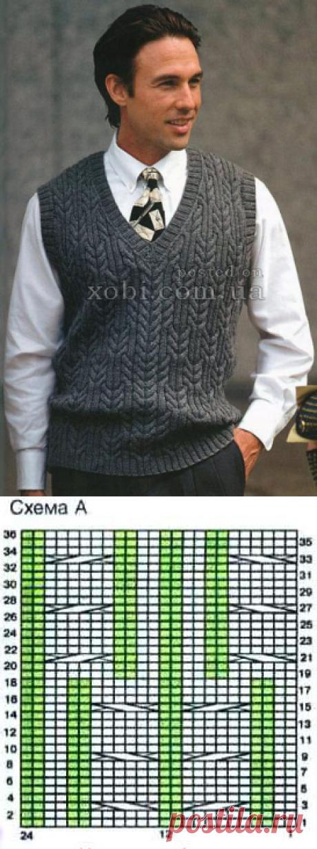 серый мужской жилет с рельефным узором