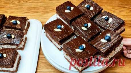 Шоколадные пирожные с прослойкой из нежного суфле с крупинками шоколада Пирожные получаются шикарные. Они имеют приятную влажную структуру и насыщенный шоколадный вкус. С нежной сливочно - суфлейной прослойкой и пикантной пропиткой. Бисквитики очень мягкие в меру влажные, пористые и сочные.Рецепт:Для бисквита:Яйца - 6 штСахар - 200 гМука - 160 гРазрыхлитель -...