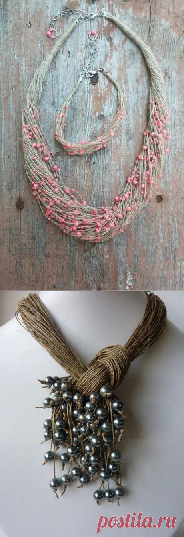 Бохо-украшения из обыкновенной льняной нити