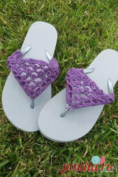 Peekaboo Picot Flip Flops free crochet pattern - Cre8tion Crochet