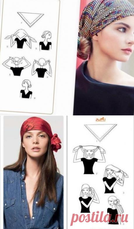 Прически с платком на голове - как повязать платок красиво, легко и оригинально: фото пошагово   ВолосОК