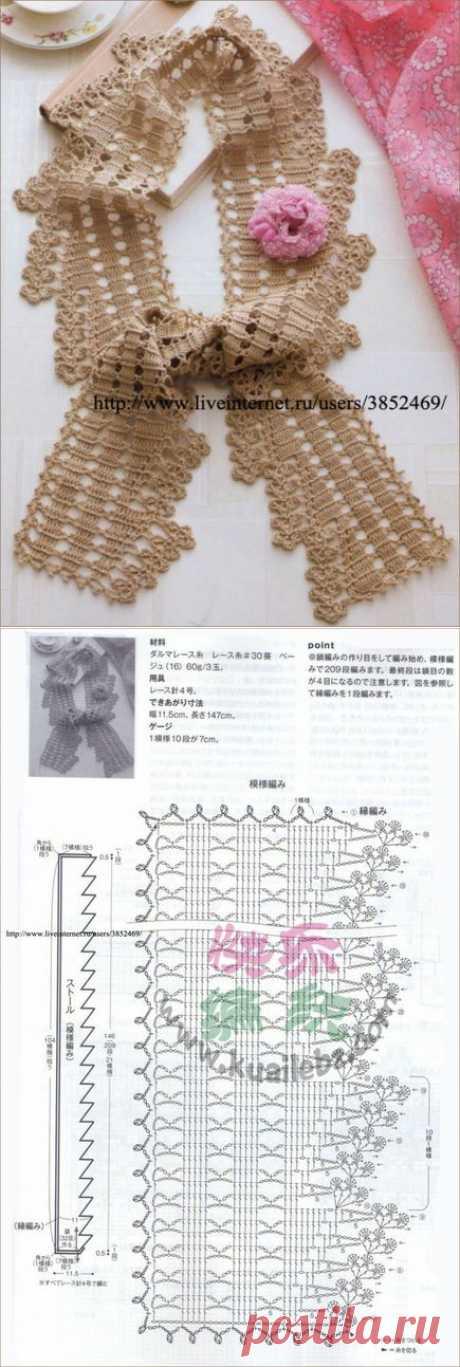 Оригинальный шарф крючком.