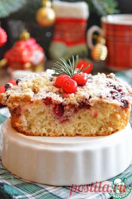 """Брусничный кухен """"Рождественское чаепитие"""" (на кислом кефире)"""