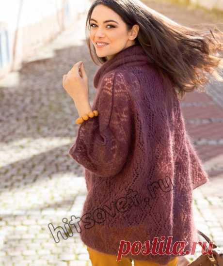 Джемпер из мохера - Хитсовет Джемпер из мохера. Свободная модель модного джемпера из мохера для женщин со схемой и бесплатным описанием вязания.