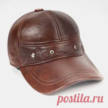 Men Genuine Leather Plus Thickness Cotton Keep Warm Ear Protection Large Brim Wi - US$33.99