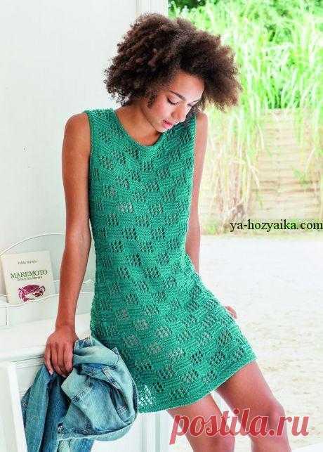 Летнее платье спицами схема. Узор спицами для платья