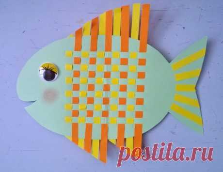 Плетеная рыбка - Поделки с детьми   Деткиподелки