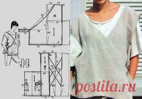 Выкройка блузки-жилета