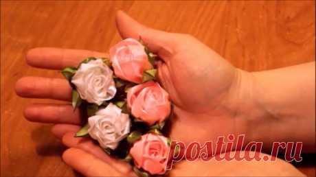 Чайные розы канзаши из лент
