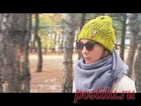 Теплая объемная шапка на осень-зиму спицами DIY