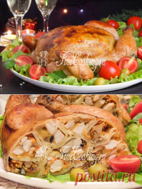 Курица, фаршированная блинами - рецепт с фото