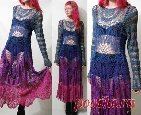 Crochet Dress VINTAGE LACE Blue Purple Pink OMBRE Long Sleeve Maxi Sheer Grunge Gypsy Bohemian Hippie ooak Handmade xs s m