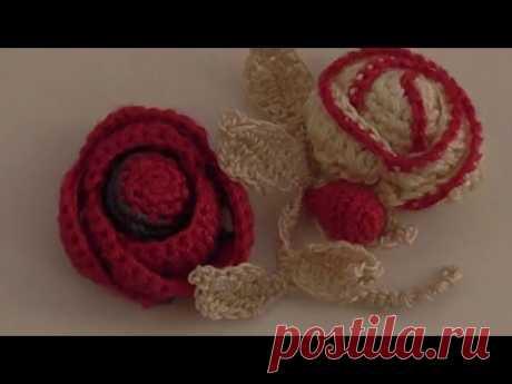 Вязаные цветы. Как связать розу  Knitted flowers. How to tie a rose