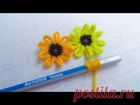 Hand Embroidery Amazing Trick, Easy Flower Embroidery Trick, Sunflower Embroidery