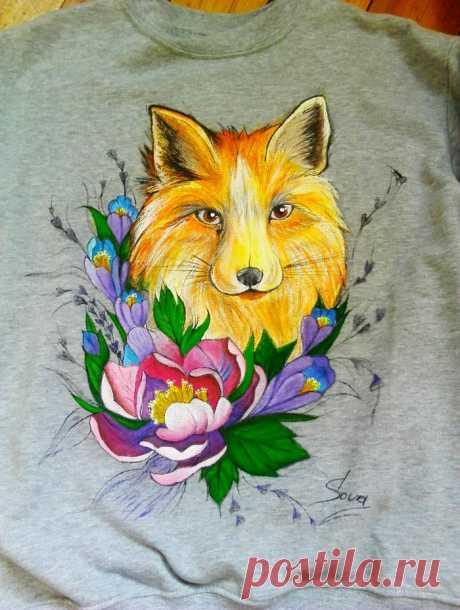 Лисица, акрил по ткани | Пикабу