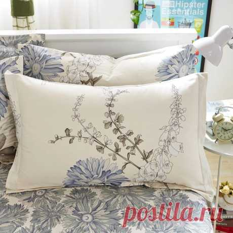 1 шт. 48 см * 74 см чехол для подушки 100% хлопок красивый чехол для подушки с цветочным принтом для спальни Наволочка    АлиЭкспресс