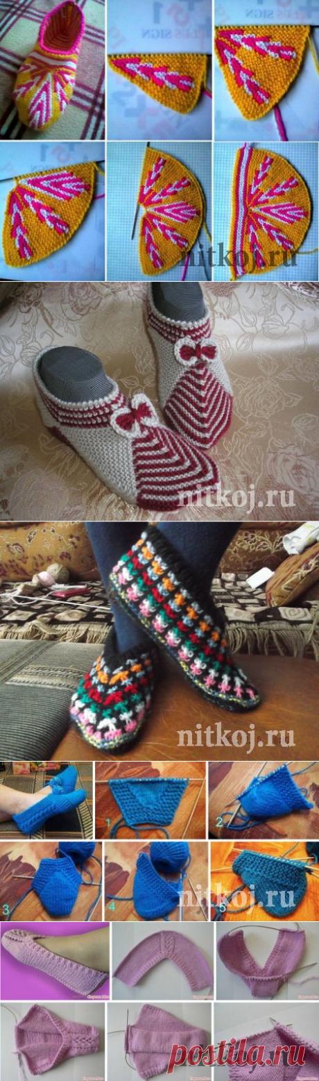 """El calzado tejido, los calcetines \""""la Página 2\"""" por el Hilo - las cosas tejidas para su casa, la labor de punto por el gancho, la labor de punto por los rayos, el esquema de la labor de punto"""