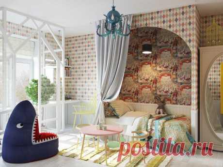 Спальня на подиуме и стеклянные стены