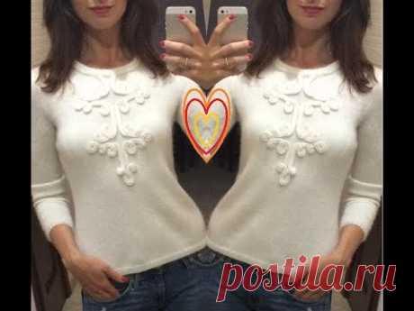 МК по вязанию чудесного розового свитерка с вензельной отделкой/  how to crochet sweater.