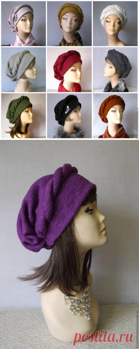 """Купить """"Регина"""" теплая шапочка осень зима - сиреневый, большой размер, русский стиль, народный стиль"""