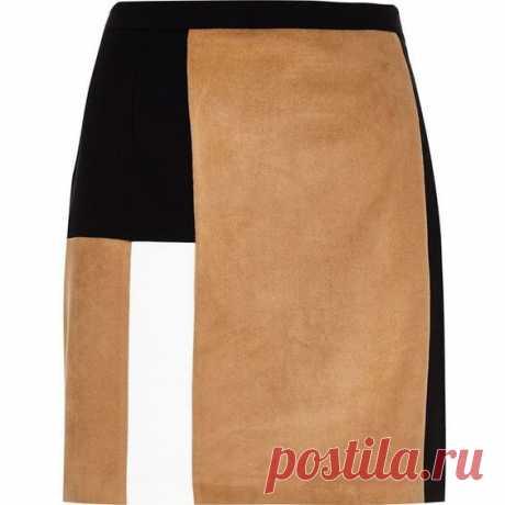 из polyvore  · · · River Island Tan block panel mini skirt ($39) ❤ liked on Polyvore featuring skirts, mini skirts, bottoms, river island, colorblock skirts, panel skirt, faux suede mini skirt and beige skirt