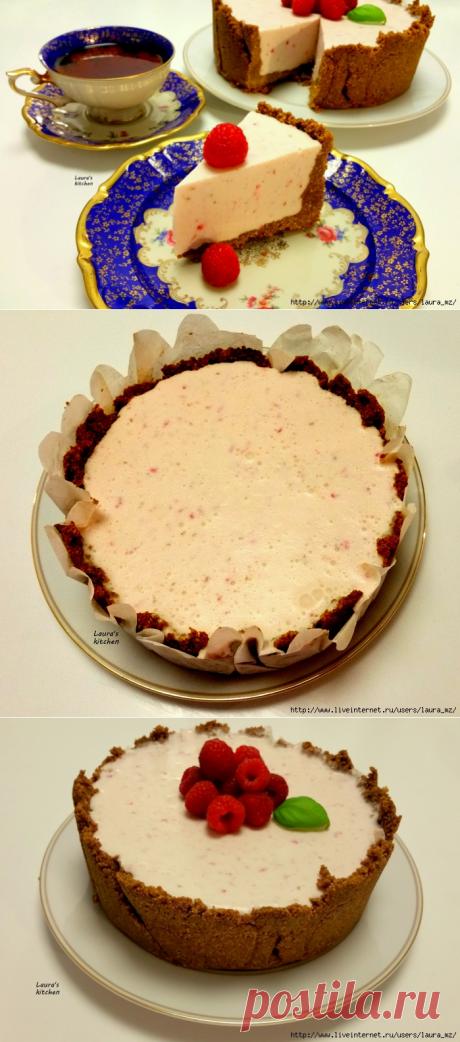 Малиновo - творожный пирог без выпечки