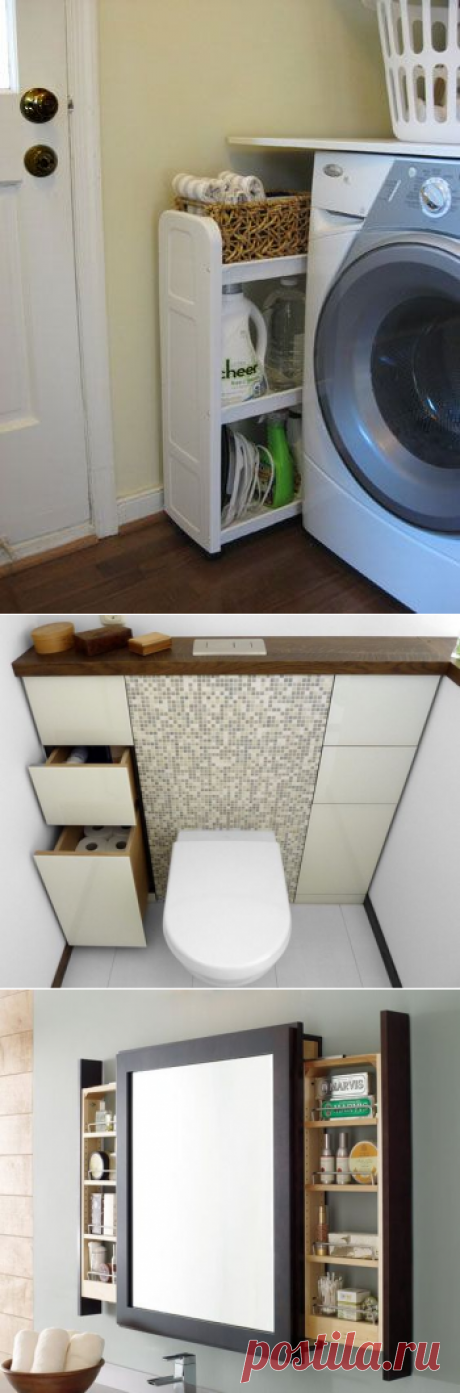 15 геніальних ідей шафок та полиць для ванни   Ідеї декору