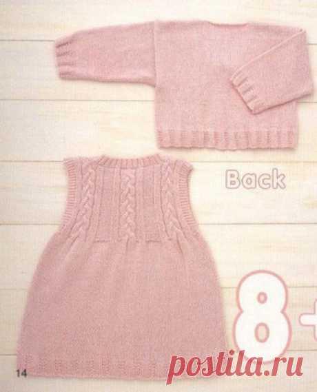 Нежный детский комплект (свитер + платье) для девочки вязаный спицами