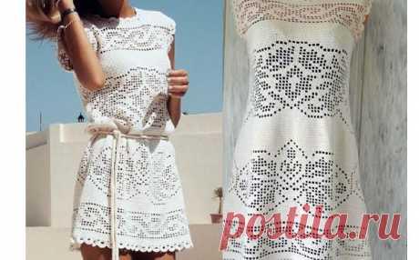 Вязаное платье с филейными узорами. Схема Вязаное крючком платье с филейными узорами. Схема