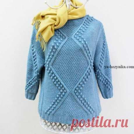 Пуловер с узором из ромбов спицами. Пуловер жемчужным узором схема