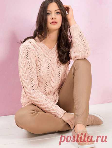 Женственный пуловер Вневременная классика с вертикальными полосами и косами спицами – схема вязания с описанием