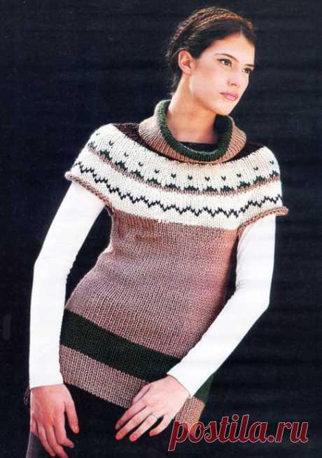 Удлиненный пуловер с круглой кокеткой спицами из категории Интересные идеи – Вязаные идеи, идеи для вязания