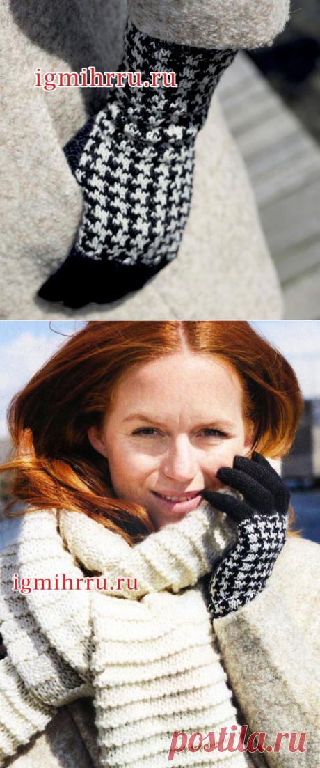 Женские перчатки с узором «гусиная лапка». Вязание спицами