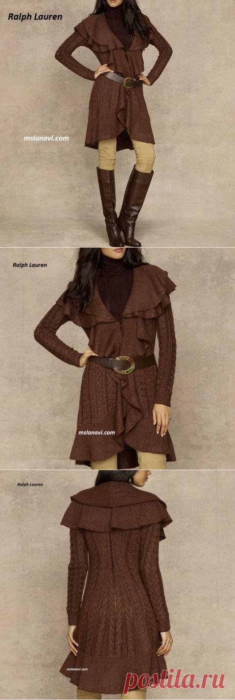 Кардиган спицами с воланами от Ralph Lauren | Вяжем с Лана Ви
