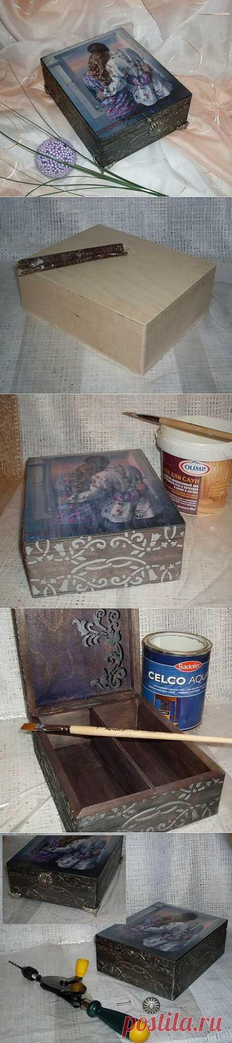 Декупаж деревянной шкатулки - мастер-класс